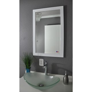 American Made Rayne Glossy White Beveled Wall Mirror