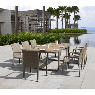 Corvus Ashena 9-piece Tan Resin Wicker Dining Set with Poly-wood Accents