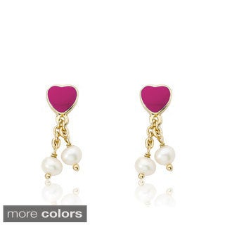 Little Miss Twin Stars 14k Goldplated Pearl Dangle I Love My Jewels Earrings