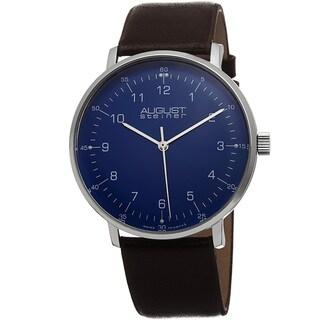 August Steiner Men's Swiss Quartz Leather Brown Strap Watch
