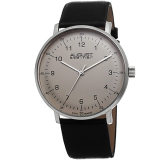 August Steiner Men's Swiss Quartz Genuine Leather Strap Watch