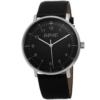 August Steiner Men's Swiss Quartz Leather Black Strap Watch