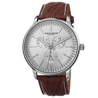 Akribos XXIV Men's Multifunction Genuine Leather Strap Watch