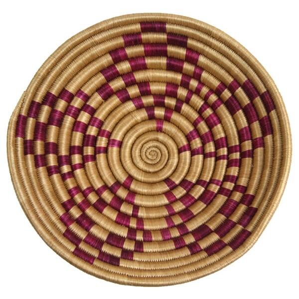 Handmade Sisal Maroon Aggie Basket (Rwanda)