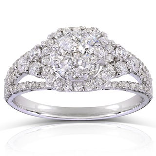 Annello 14k White Gold 1ct TDW Multi-Stone Diamond Engagement Ring (H-I, I1-I2)