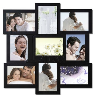 9-opening Black Wood Wall Hanging Collage Photo Picture Frame