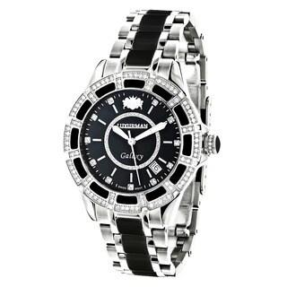 Luxurman Women's 'Galaxy' 1 1/4ct Diamond Black Analog Watch