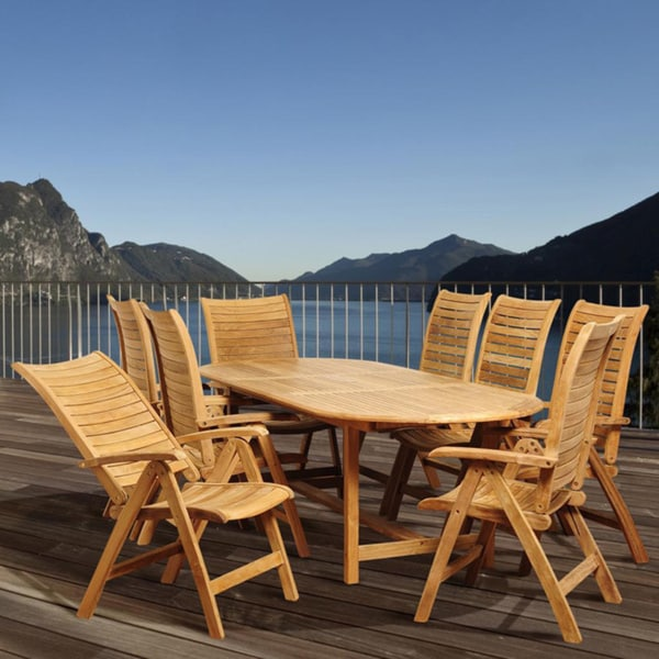 Amazonia Teak 'Mandy' Light Brown Teak Wood 9-piece Dining Set