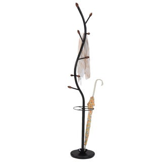 Black Metal 'Walnut Hall Tree' Coat Hat Rack with Umbrella Stand