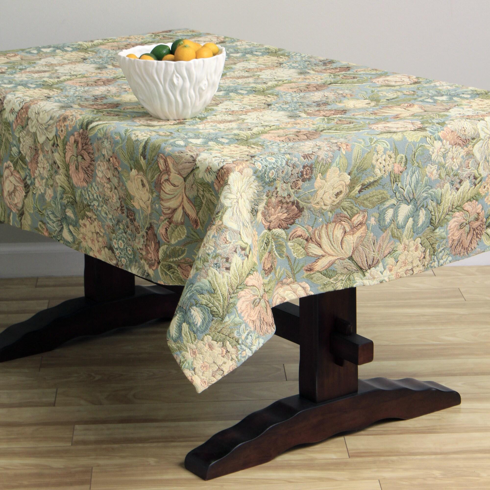 Overstock.com Corona Decor Floral Design 50x90-inch Italian Heavyweight Tablecloth at Sears.com