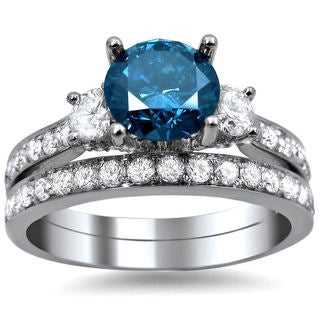18k White Gold 2 2/5ct Blue and White Round Diamond Bridal Ring Set (G-H, SI1-SI2)