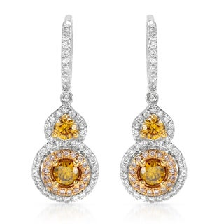 18k Two-tone Gold 1 1/10ct TDW Diamond Earrings (H-I, SI1-SI2)