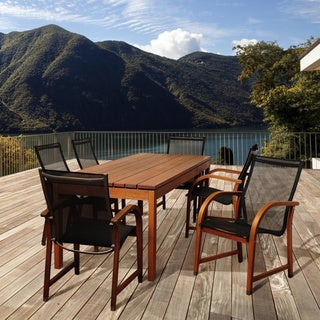 Amazonia 'Stella' Stained Eucalyptus Wood and Mesh 7-piece Outdoor Dining Set