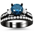 18k Black Gold 2 2/5ct Blue and White Round Diamond Bridal Ring Set (G-H, SI1-SI2)