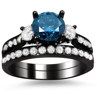 18k Black Gold 2 1/6ct Blue and White Round Diamond Bridal Ring Set (G-H, SI1-SI2)