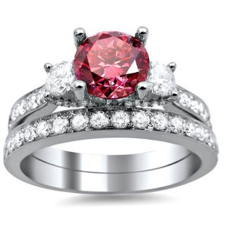 18k White Gold 2 1/2ct Pink and White Round Diamond Bridal Ring Set (G-H, SI1-SI2)