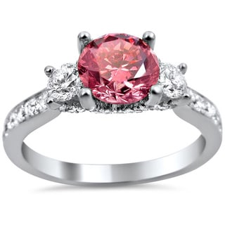 18k White Gold 2ct Pink and White Round Diamond Ring (G-H, SI1-SI2)