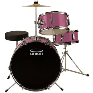 Union UJ3 Pink 3-piece Junior Drum Set with Hardware, Cymbal, and Throne