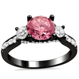 Noori 18k Black Gold 2ct Pink and White Round Diamond Engagement Ring (G-H, SI1-SI2)