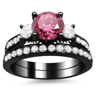 18k Black Gold Certified 2 1/2ct Pink and White Round Diamond Bridal Ring Set (G-H, SI1-SI2)