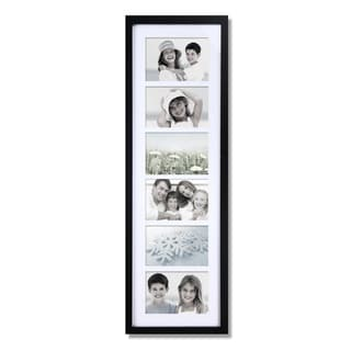 Black Wood Matted 6-opening Hanging Collage Photo Frame