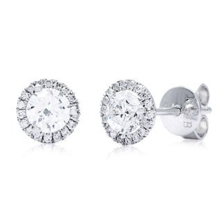 14k White Gold 3/4ct TDW Round Diamond Halo Stud Earrings (G-H, SI2-I1)