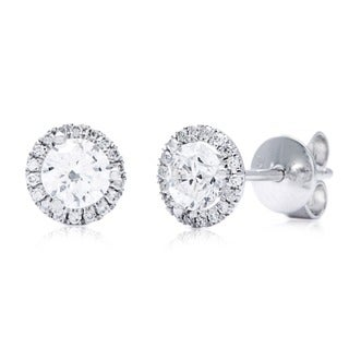 14k White Gold 3/4ct TDW Round Diamond Halo Stud Earrings (G-H, SI1-SI2)