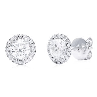 14k White Gold 1 3/4ct TDW Round Diamond Halo Stud Earrings (G-H, SI1-SI2)