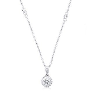 14k White Gold 3/8ct TDW Round Diamond Halo Necklace (G-H, SI2-I1)