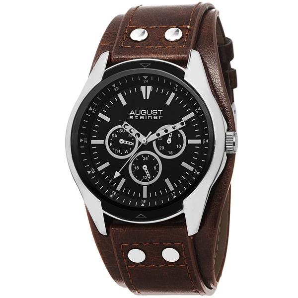August Steiner Men's Quartz Multifunction PU Strap Watch
