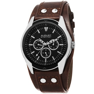 August Steiner Men's Quartz Multifunction PU Strap Watch