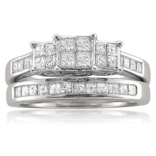 14k White Gold 1 1/10ct TDW Quad Princess Diamond Bridal Set (G-H, I1-I2)
