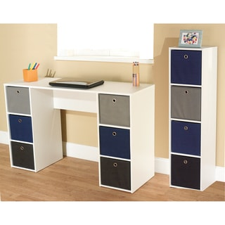 Jolie Blue Theme 6-bin Writing Desk with 4-bin Bookcase Set