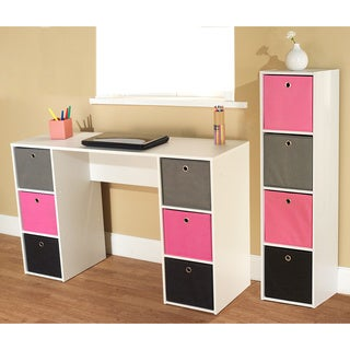 Jolie Pink Theme 6-bin Writing Desk with 4-bin Bookcase Set