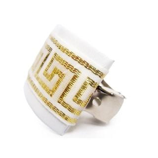 Crawford Corner Shop White/ Gold Ponytail Hair Clip