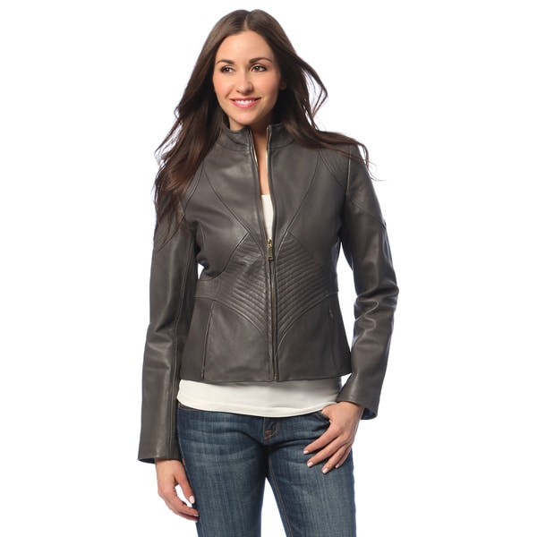 Tahari Women's Graphite Leather Zip-front Scuba Jacket