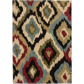 Well Woven Panel Ikat Plush Oriental Geometric Blue, Green, Red, and Ivory Shag Area Rug (5' x 7')