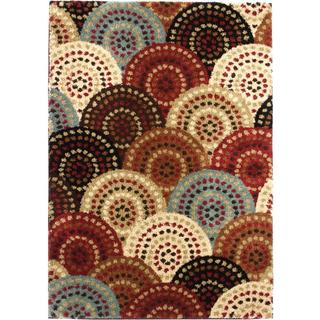 Pin Dot Circles Multicolored Shag Area Rug (8'2 x 9'10)