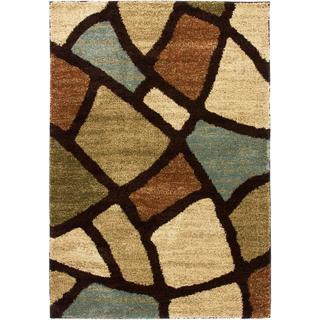 Well Woven Wavy Squares Super Plush Green Shag Area Rug (8'2 x 9'10)