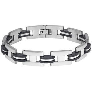 Stainless Steel Bracelet with Rubber Highlights