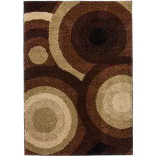 Geometric Circles in Circles Shag Brown Rug (5' x 7')