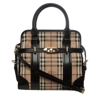 Burberry 'Minford' Medium Beige/ Black Haymarket Portrait Tote