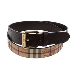 Burberry 'Clochester' Beige/ Chocolate Haymarket Belt