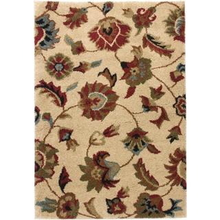 Floral Traditional Persian Motif Super Plush Ivory Color Shag Area Rug (8'2 x 9'10)