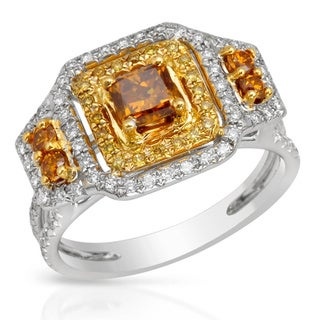 Italy by Contessa 18k White Gold 5/8ct TDW Fancy Yellow and White Artisan Diamond Ring (H-I, SI1-SI2)