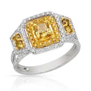 Italy by Contessa 18k White Gold 5/8ct TDW Fancy Yellow and Diamond Ring (H-I, SI1-I2)
