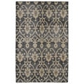 Hand-Knotted Vintage Replica Charcoal Wool Rug (5'6 x 8'6)