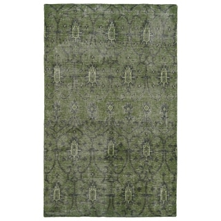 Hand-Knotted Vintage Replica Green Wool Rug (9'0 x 12'0)