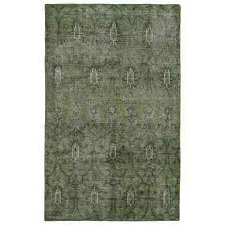 Hand-Knotted Vintage Replica Green Wool Rug (9' x 12')
