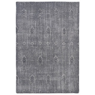 Hand-Knotted Vintage Replica Grey Wool Rug (9'0 x 12'0)